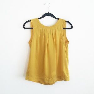 100% Silk Banana Republic Bow Detail Gold Tank Top